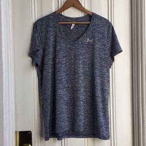 Under Armour Heather Blue V Neck Workout Shirt